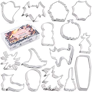 BakingWorld Halloween Cookie Cutter Set - 15 Piece - Cat Witch Hat Shoes Broom Cauldron Pumpkin Bat Ghostand Coffin Skull Spider Cobweb and Tombstone Shapes Biscuit Fondant Cutters - Stainless Steel