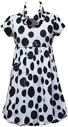 Rare Editions Big Girls Tween 7-16 Grey Black Sequin Polka Dot Knit Bubble Dress (10, Grey) -