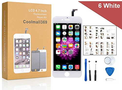 Price comparison product image iPhone 6 Screen Replacement For Lcd Touch Screen Digitizer Frame Assembly Set Coolmall369 Free Tool Set Included (White)