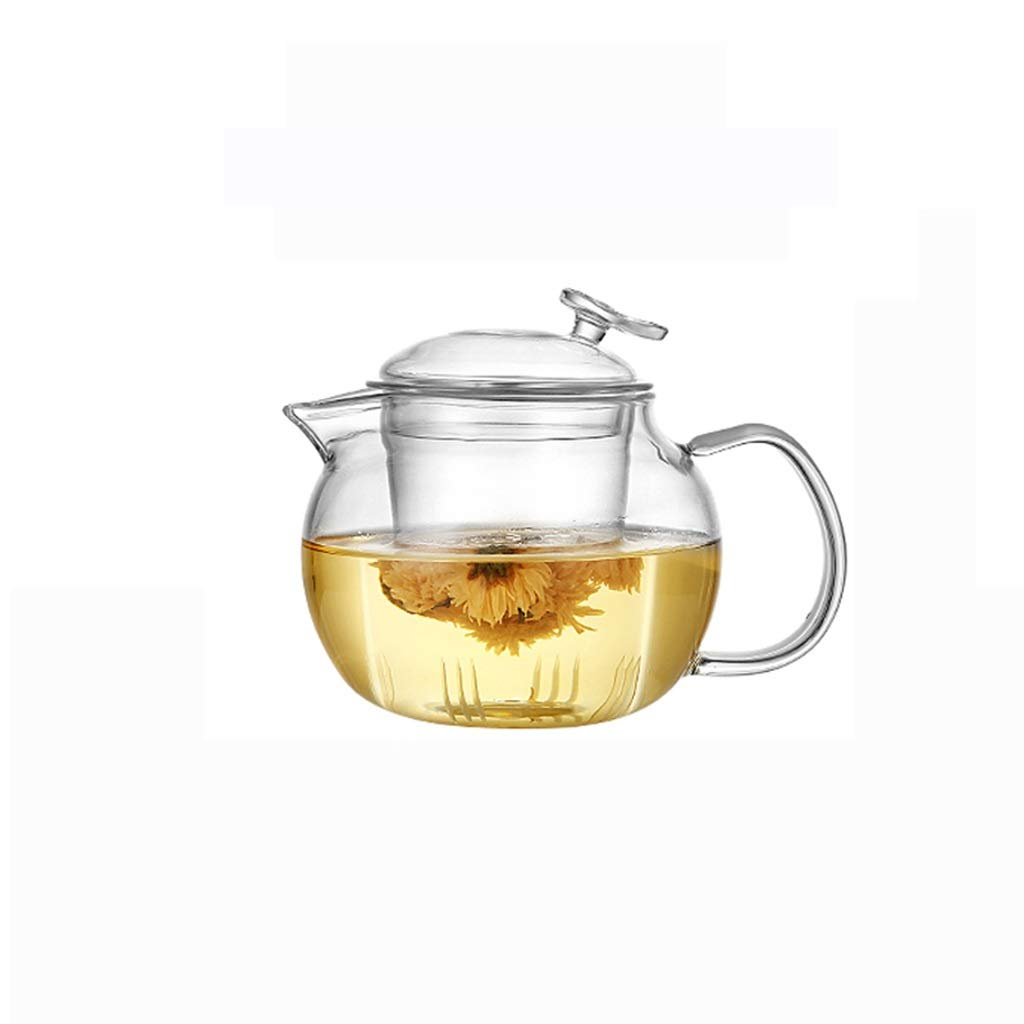 Glass teapot high temperature resistant thickening tea cup red tea set home brewing tea filter single pot kettle CHAJU (Color : 600ml) by CHAJU