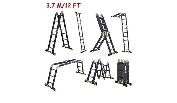 ZAQI Escalera Extensible Escalera telescópica Multi-Uso Escalera de Aluminio con Barra estabilizadora, Negro Pesado Plegable Andamios Escalera for tejados ático, 150 kg de Carga: Amazon.es: Hogar