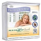 AllerZip Smooth Anti-Allergy & Bed Bug Proof Mattress or Box Spring Encasement – Queen Size (Depth 4 – 8″)