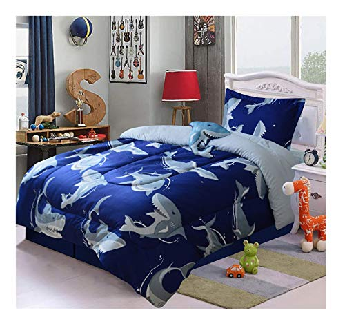(All American Collection 3 Piece Twin Size Comforter Set with Plush Toy (Navy Shark))
