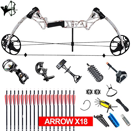 XQMART XGeek Archery Compound Hunting Bow Package & Accessories Kit M1 (Right Handed) (Black) (M1-Snow camo-)