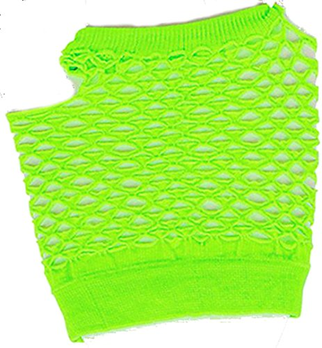 Adults Sexy Neon Green Fishnet Fingerless 80s Rock Costume Half Gloves (80s Neon Fashion)