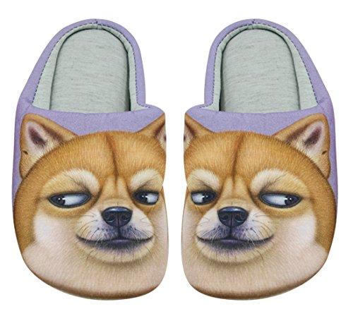 Cc-noi Cc-noi Uomini Donne 3d Cane Di Cane Del Fumetto Morbido Cotone Slip-on Pantofole Interne Antiscivolo Casa Scarpe Divertente Cane