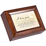 Cottage Garden Love You to the Moon Wood Finish Jewelry Music Box Plays All You Need is Love
