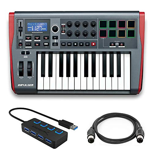 Novation Impulse 25 Controller Keyboard with 4 Port 3.0 USB HUB and Midi Cable