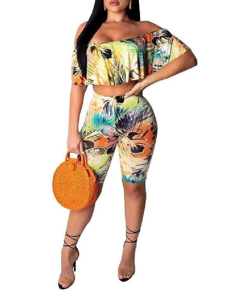 Comaba Women Premium Flower Print Hawaii Body Enhancing Short Pants Set