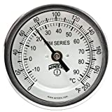 Winters TBM Series Stainless Steel 304 Dual Scale Bi-Metal Thermometer, 2-1/2'' Stem, 1/2'' NPT Fixed Center Back Mount Connection, 3'' Dial, 0-200 F/C Range
