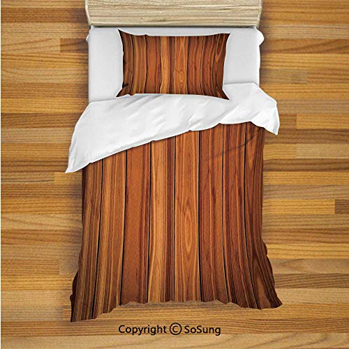 SoSung Rustic Home Decor Kids Duvet Cover Set Twin Size, Tall Decorative Bound Wood Line Timber Trunk Red Maple Stem Birch Branch Image 2 Piece Bedding Set with 1 Pillow - Bunk Size Twin Bed Maple
