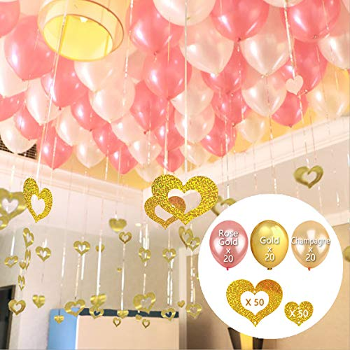 Valentine's Day 160 PCS Rose Gold, Gold and Champagne Balloons 12inch Set & Gold Heart Shaped Cutouts Confetti Balloon Pendant with Silver Foil Fringe Tassel Hanging String for Anniversary Party Favor