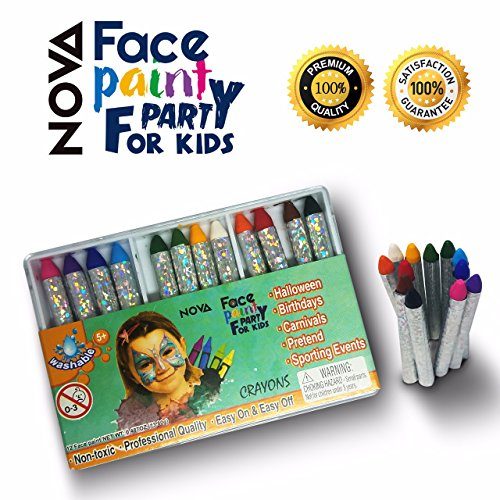 Face Paint Crayons Kit for Kids Adults - NOVA- SMALL Set-12 Eco-Friendly safe Non-Toxic Crayon Sticks - Fun For All Ages, Stage Makeup to Body Art, Neon Black Red Orange (Halloween Costumes For Adults Easy)