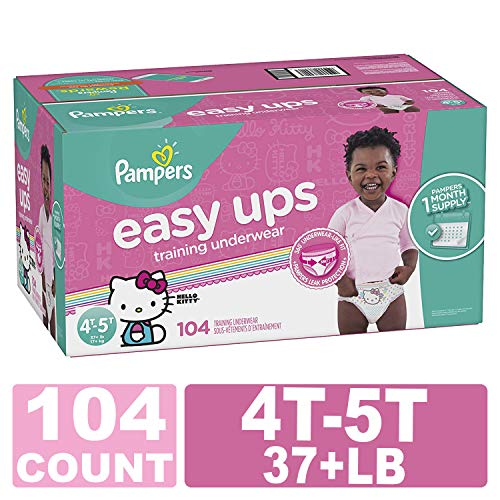 Pampers Easy Ups Training Girls Underwear, 4T-5T, 104 Count,  ONE MONTH SUPPLY - Girls Pull Ups