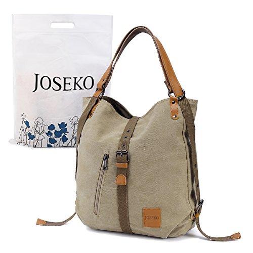 JOSEKO Fashion Shoulder Bag Rucksack, Canvas Multifunctional Casual Handbag Travel Backpack for Women Girls Ladies, Large Capacity Khaki 14.17 inch(L) x 3.94 inch(W) x 14.96 inch(H) Fashion Casual Canvas