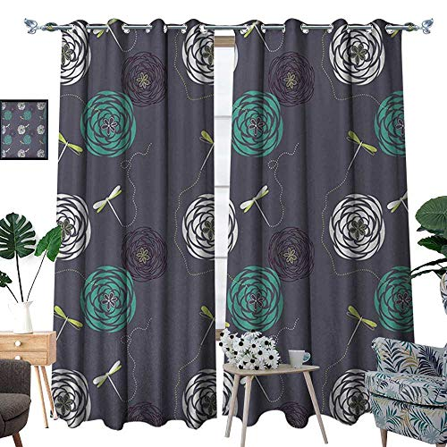 RenteriaDecor Dragonfly Window Curtain Fabric Bohem Modern Ethnic Inspired Minimalist Bugs and Flowers Print Drapes for Living Room W108 x L96 White Sky Blue and Dark Blue ()