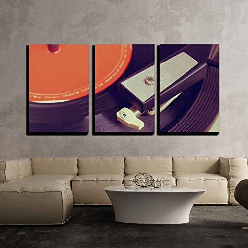 "Wall26 - 3 Piece Canvas Wall Art - Close Up Image of Old Record Player, Image is Retro Filtered . Selective Focus - Modern Home Decor Stretched and Framed Ready to Hang - 16""x24""x3 Panels"
