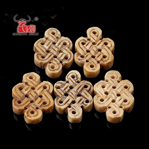 (Calvas Natural Yak Bone carvings Chinese Knot Pendant Back Cloud Added to The Beads Accessories DIY Bracelet Accessories. - (Color: Brown))