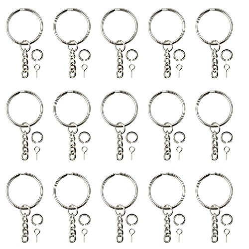 cnomg 100 pcs Keychain Rings with Chain and 100 Pcs Screw Eye Pins Bulk for ()