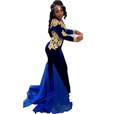 DingDingMail Royal Blue Prom Dresses 2017 Long Sleeve Mermaid Velvet Special Party Gress Off Shoulder Evening