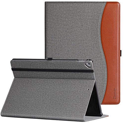 Ztotop Case for iPad Pro 12.9 Inch 2017/2015 (Old Model,1st & 2nd Gen), Premium Leather Folding Stand Folio Cover with Auto Wake/Sleep, Document Card Slots and Multiple Viewing Angles, Denim Gray