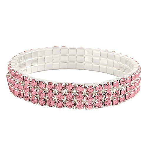 Falari Rhinestone Crystal Stretch Bracelet Sparkle Wedding Bridal 3 Rows Pink ()