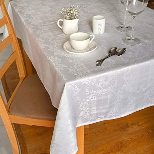 """Stain Resistant White Easter Tablecloth Polyester Table Cover - Rectangular Square Round Washes Easily Non Iron - Thanksgiving Christmas New Year Eve Gift Dinner Wedding (WHITE, Square 90""""x90"""")"""