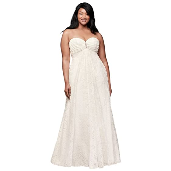 David\'s Bridal Plus Size Leaf Lace Plus-Size Wedding Dress With ...