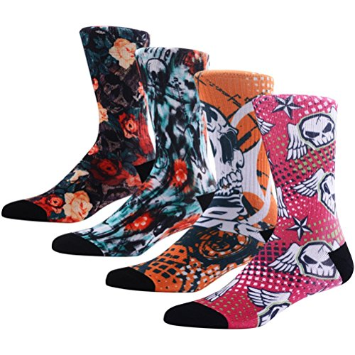 Novelty Crazy Skull Socks for Men, MEIKAN Wild Weird Fun Colorful Skeleton Patterned Fancy Socks ,4 Pairs Color 9,One -