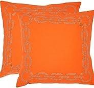 Safavieh Pil156C-1818-Set2 Sibine Pillow, color Orange, pack of/paquete de 2