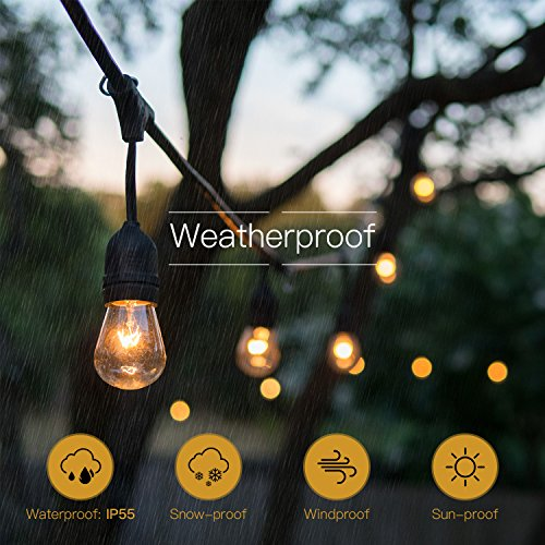 SUPERDANNY UL Approval Outdoor String Lights 52ft Commercial Grade Weatherproof Edison Vintage 30 Bulbs (6 for Spare) with 30pcs Cable Ties as Bonus, for Patio Gazebo Porch Garden Backyard Wedding by SUPERDANNY (Image #3)