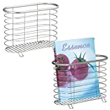 mDesign Decorative Modern Magazine Holder, Organizer Bin - Standing Rack for Magazines, Books, Newspapers, Tablets in Bathroom, Family Room, Office, Den - Pack of 2, Brushed Stainless Steel Wire