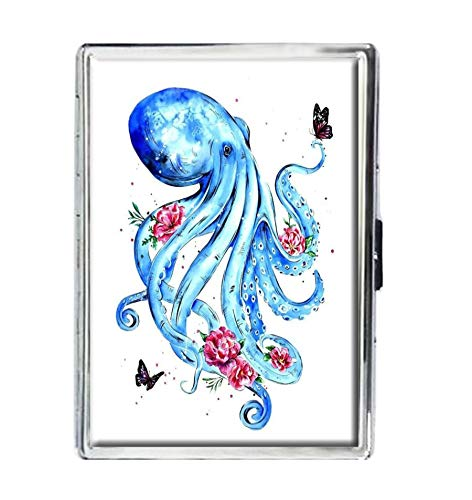 - Design Stainless Steel ID Cigarettes Case Holder Stylish Credit Card Wallet (Octopus and Flower Design Stainless Steel ID)