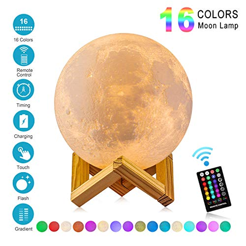 Moon Lamp with Time Setting and Stand 3D Print LED 16 Colors Hung Up Decorative Luna Lights for Birthday Party Kids Christmas Gifts(5.9 -