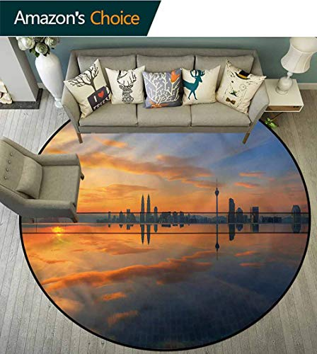 RUGSMAT Landscape Warm Soft Cotton Luxury Plush Baby Rugs,Sunrise Cityscape Area Rug - Perfect for Any Place Diameter-47