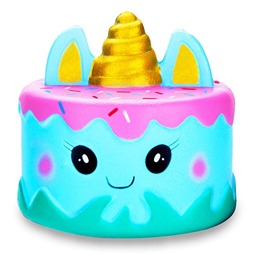 R.HORSE Jumbo Squishy Kawaii Cute Unicorn Mousse Cream Scented Squishies Slow Rising Kids Toys Doll Stress Relief Toy Hop Props, Decorative Props Large (Narwhal Cake)