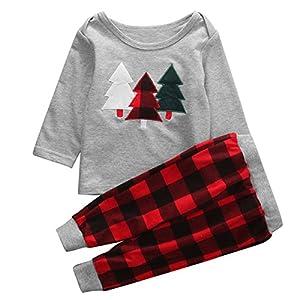1-5T Infant Toddler Kids Christmas Tree Print Shirt Tops+Pants Xmas Clothes Set