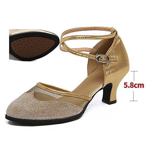 Sandalia De Dorado WYMNAME De Zapatos Mujeres Tacones Zapatos Baile Red De Hilo Baile Mediados Latino Social EEwaq641