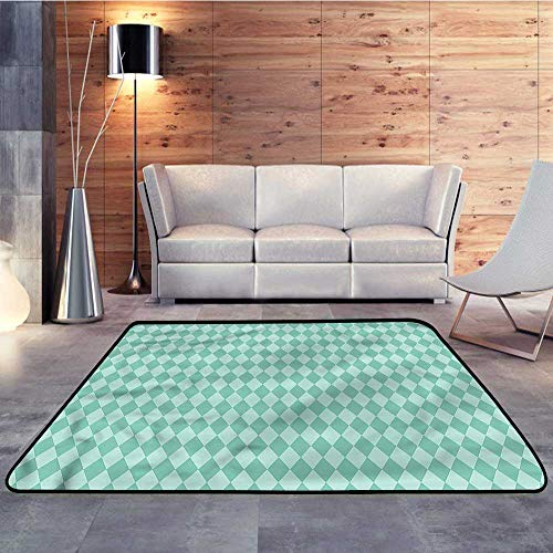 Floor mats for Trucks,Aqua,Rectangular Geometric TileW 47