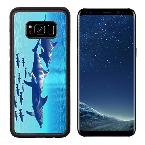 MSD Premium Samsung Galaxy S8 Aluminum Backplate Bumper Snap Case IMAGE ID: 7573832 Three Bottlenose Dolphins swim with a group of reef (Tro Freshwater Fish)