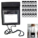 24 Pouch Travel Passport Holders Neck Strap Transparent Window Cover Card Wallet