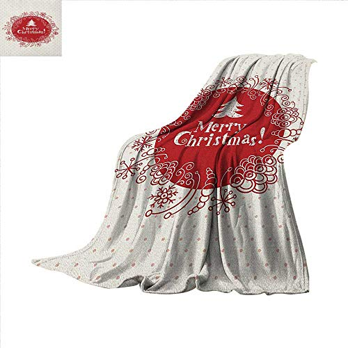 (Anyangeight Christmas Digital Printing Blanket Merry Christmas Greeting Design with Sketchy Tree Swirled Doodles Frame Summer Quilt Comforter 60