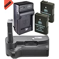 Battery And Charger Kit for Nikon D3100 D3200 D3300 Digital SLR Camera Includes Vertical Battery Grip + Qty 2 Replacement EN-EL14 Batteries + Rapid AC/DC Charger + Micro Fiber Cleaning Cloth