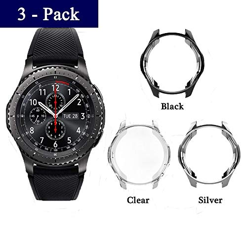 JZK Samsung Gear S3 Frontier Classic Case, TPU Shock-Proof and Shatter-Resistant Protective Bumper Cover Case for Samsung Gear S3 Frontier SM-R760 Galaxy Watch 46mm Accessories (Black+Silver+Clear) (Samsung Galaxy S3 Cases Clear)