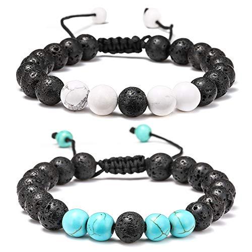 Lava Rock Bracelet - 8mm Lava Rock Bead White Turquoise and Blue Turquoise Anxiety Bracelet, Men Women Stress Relief Yoga Beads Adjustable Aromatherapy Essential Oil Diffuser Healing Bracelets