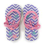 Beach Sandals Toddler Girls Summer Shoes Printed Flip Flop with Thong Toe and Back Strap (Extra Large 11-12 Anchor)