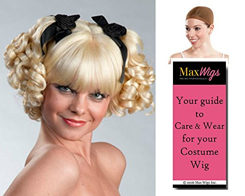 Ringlet Pigtail color BLACK - Enigma Wigs Curly Bo Peep Anime Goth Fairytale Bundle w/Cap, MaxWigs Costume Wig Care -