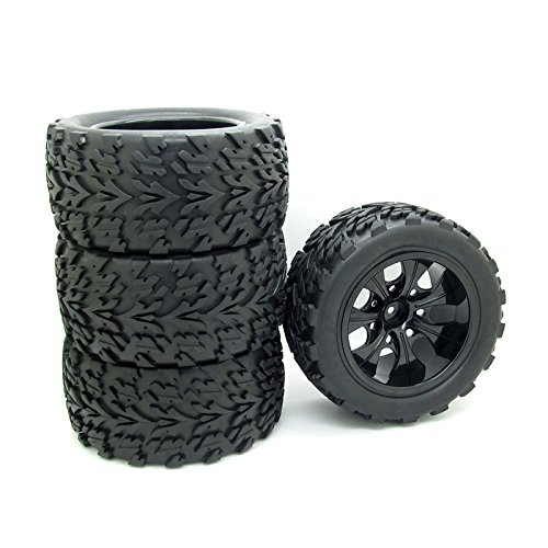 4x 1:10 RC Monster Truck Car Wheel Type Tires with 7 Spokes Wheel Rim Black RC Parts ()