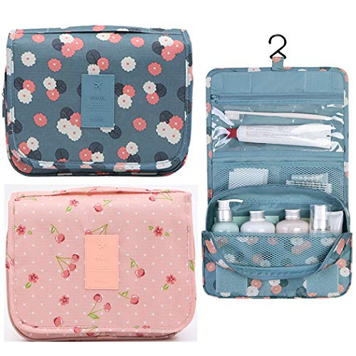 Sipliv 2 Pack Hanging Travel Toiletry Bag Cosmetic Bag Waterproof Makeup Organizer Cosmetic Bag Pouch For Women Girl, Cherry + ()