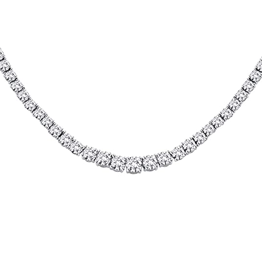 12 ct. Graduated Diamond Riviera Tennis Necklace in Platinum (Color GH, Clarity VS)